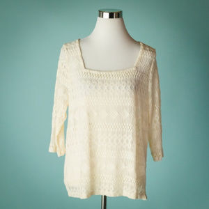 Lucky Brand L Ivory Square Neck Lace Crochet Top